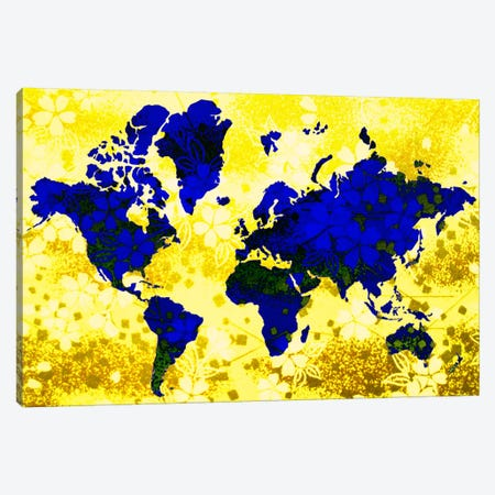 Floral Earth Map Canvas Print #ICA378} by Unknown Artist Canvas Art