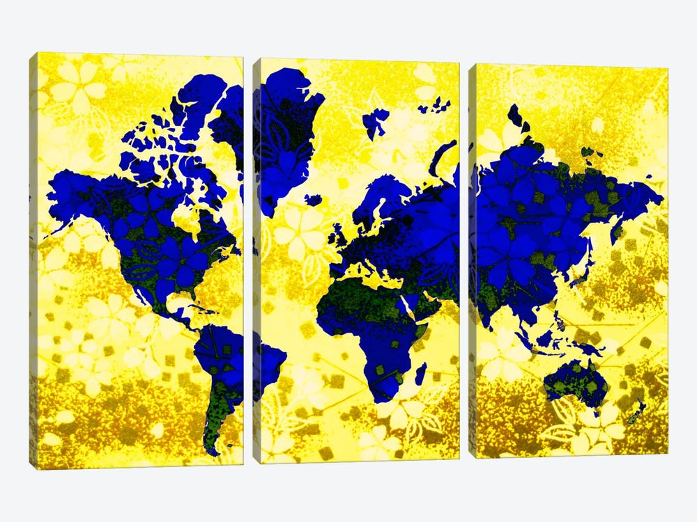 Floral Earth Map by iCanvas 3-piece Art Print