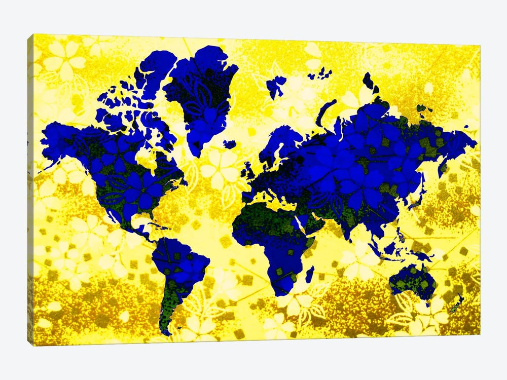 Floral Earth Map by Unknown Artist 1-piece Canvas Print