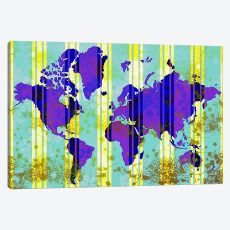 Floral Earth Map 2 Canvas Print #ICA379} by iCanvas Canvas Artwork