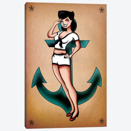 Sailor Girl Pinup Canvas Print #ICA37} by Unknown Artist Canvas Art Print