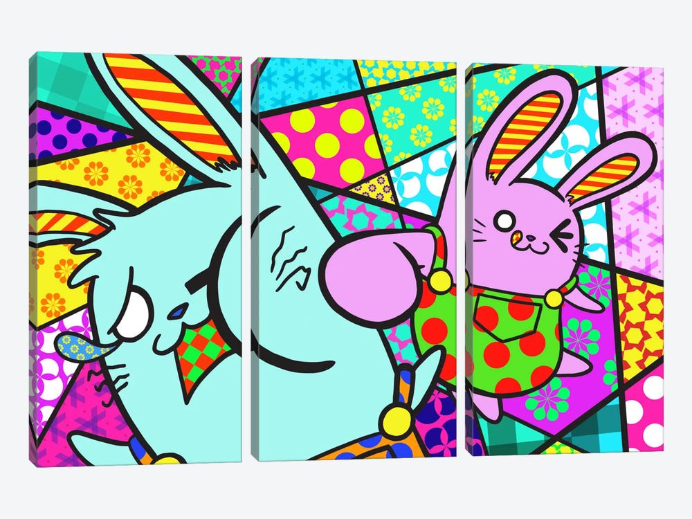 Bunny Misunderstanding by iCanvas 3-piece Canvas Art