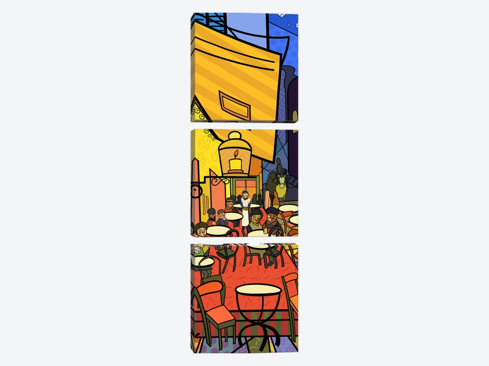 Cafe Terrace on the Place Du Forum (After Vincent Van Gogh) by 5by5collective 3-piece Canvas Artwork