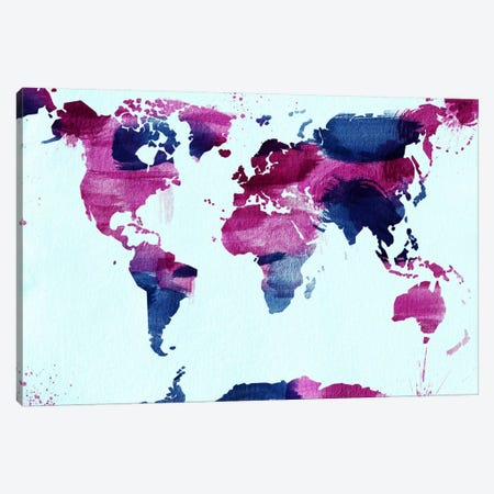 Watercolor World (Blue) Canvas Print #ICA40} by Unknown Artist Canvas Art Print