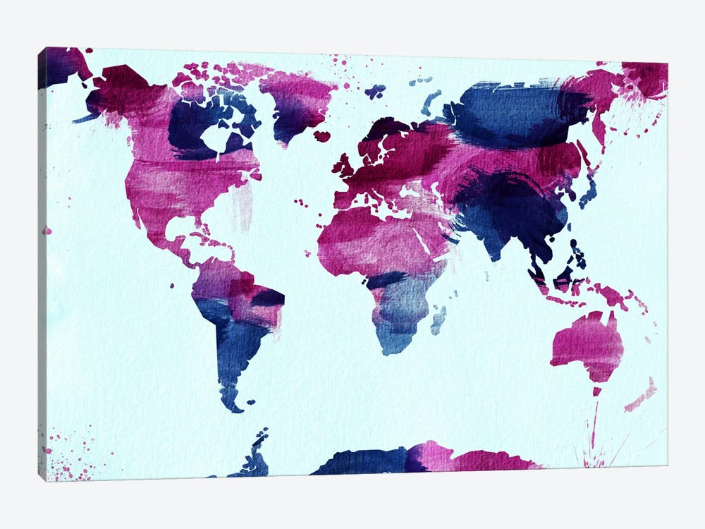 Watercolor World (Blue) by iCanvas 1-piece Canvas Artwork