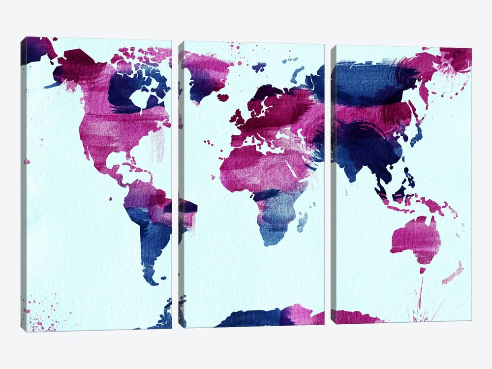 Watercolor World (Blue) by iCanvas 3-piece Canvas Artwork