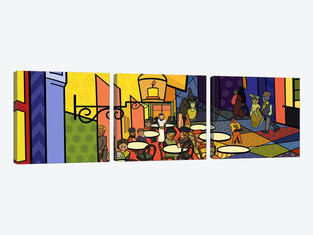 Cafe Terrace on the Place Du Forum 2 (After Vincent Van Gogh) by 5by5collective 3-piece Canvas Art