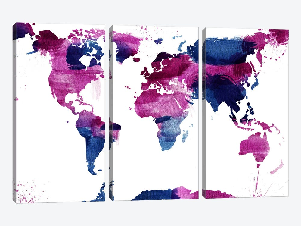 Watercolor World (Whtie) by iCanvas 3-piece Art Print