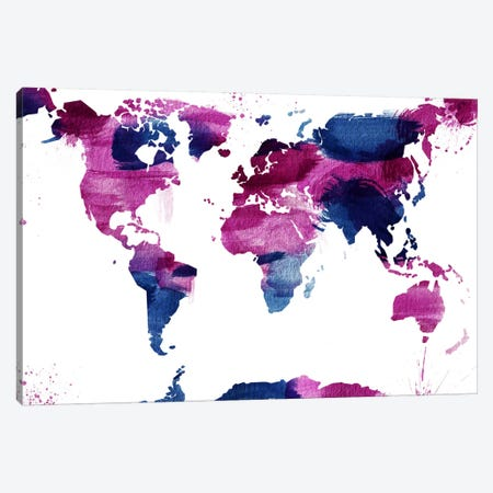 Watercolor World (Whtie) Canvas Print #ICA41} by Unknown Artist Art Print