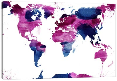 Watercolor World (Whtie) Canvas Art Print