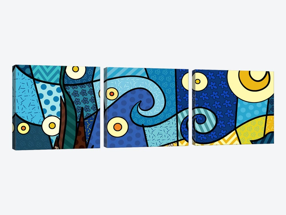 Starry Night (After Vincent Van Gogh) by 5by5collective 3-piece Canvas Art Print