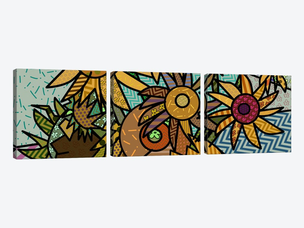 Sunflowers (After Vincent Van Gogh) by 5by5collective 3-piece Canvas Print