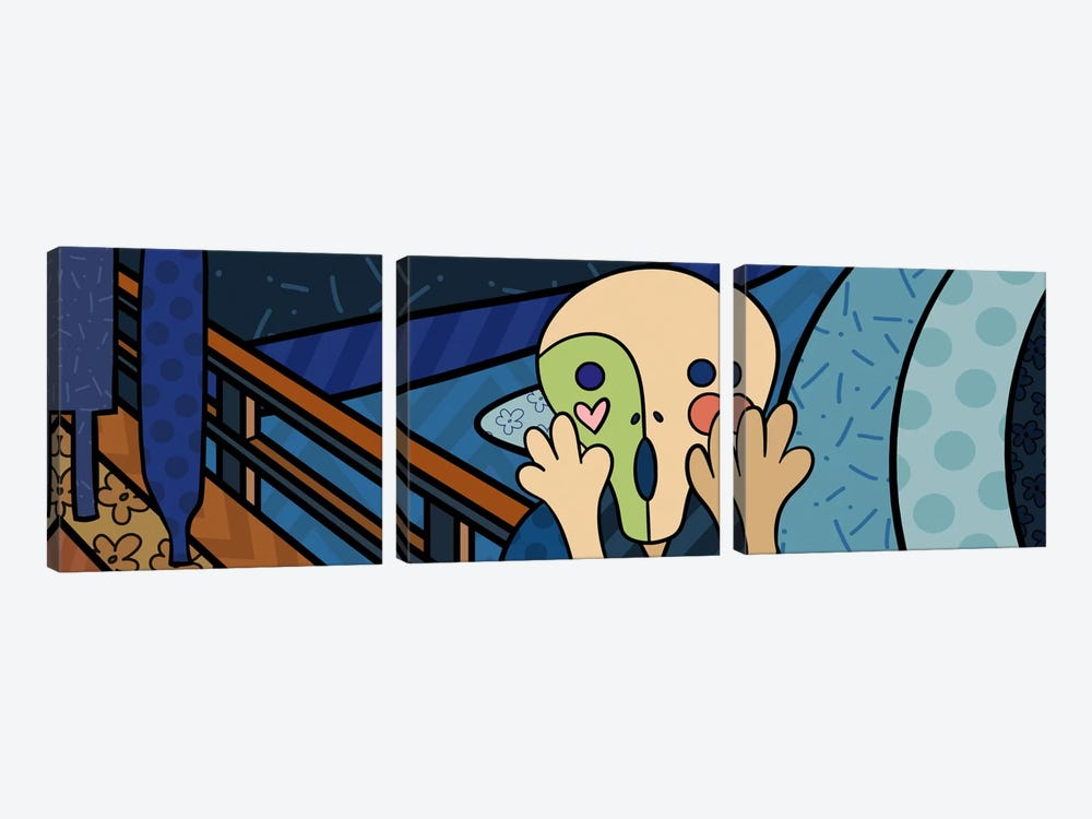 The Scream 2 (After Edvard Munch) by 5by5collective 3-piece Canvas Print