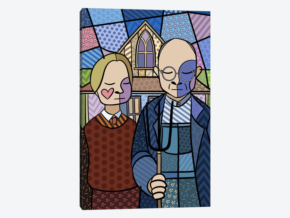 American Gothic 2 (After Grant Wood) 1-piece Canvas Art Print
