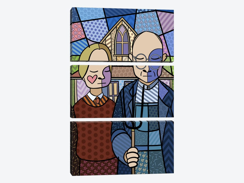 American Gothic 2 (After Grant Wood) by 5by5collective 3-piece Art Print
