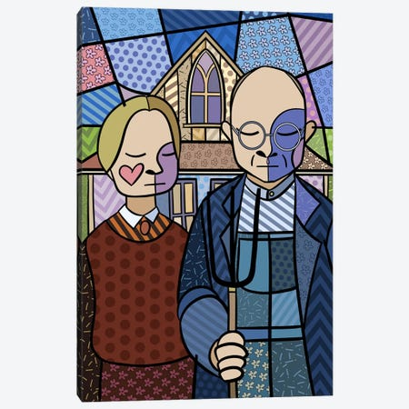 American Gothic 2 (After Grant Wood) Canvas Print #ICA435} by 5by5collective Canvas Artwork