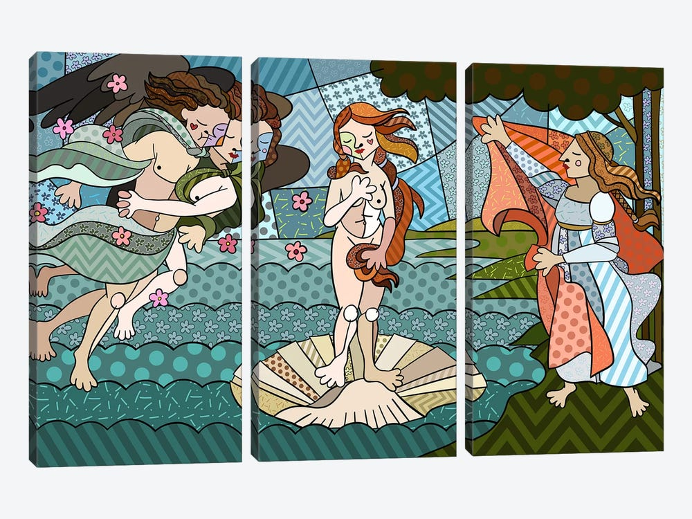 The Birth of Venus 2 (After Sandro Botticelli) by 5by5collective 3-piece Canvas Art