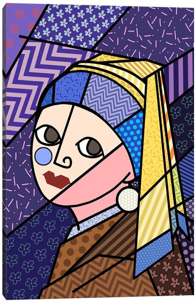 Girl With a Pearl Earring 3 (After Johannes Vermeer) Canvas Print #ICA440
