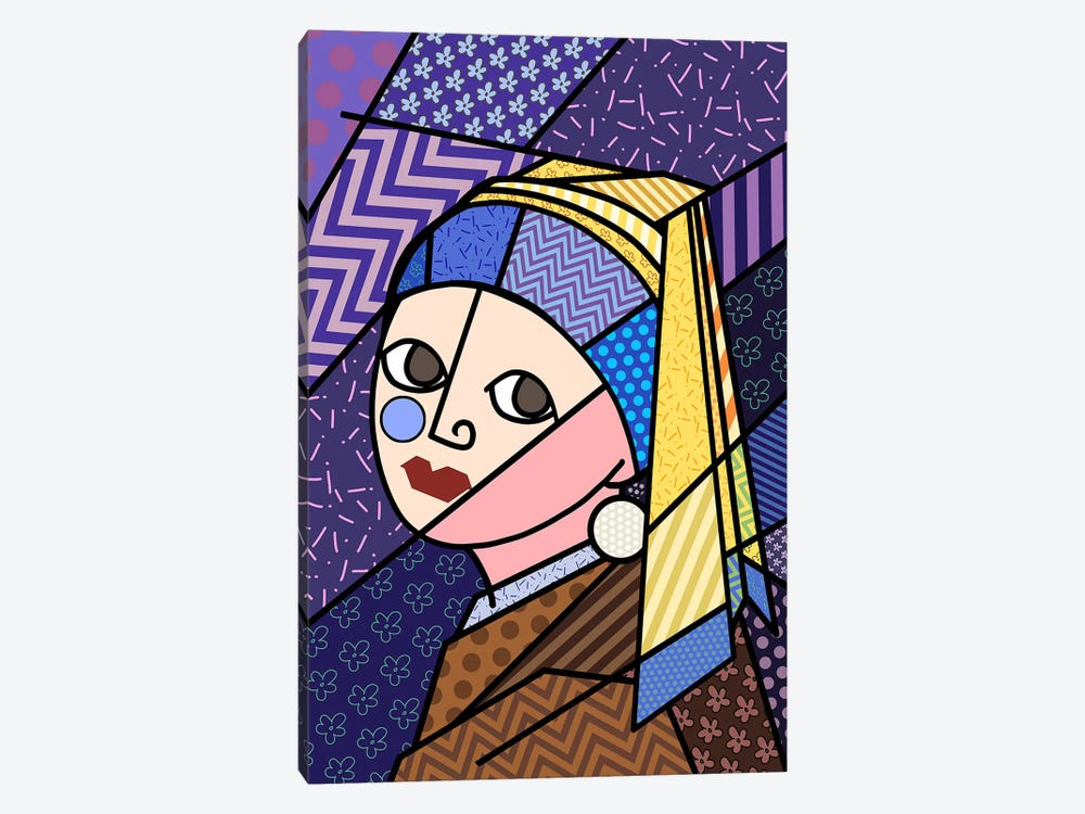 Girl With a Pearl Earring 3 (After Johannes Vermeer) by 5by5collective 1-piece Canvas Print