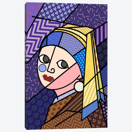 Girl With a Pearl Earring 3 (After Johannes Vermeer) Canvas Print #ICA440} by 5by5collective Canvas Art