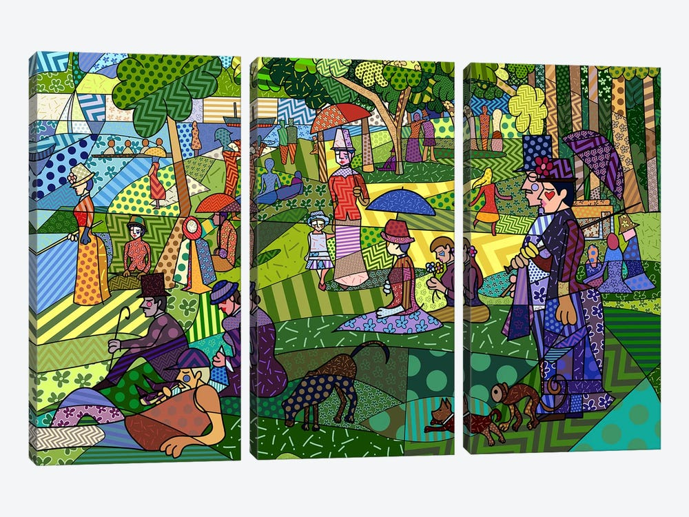 Sunday Afternoon on the Island of La Grande Jatte 2 (After Georges-Pierre Seurat) by 5by5collective 3-piece Art Print