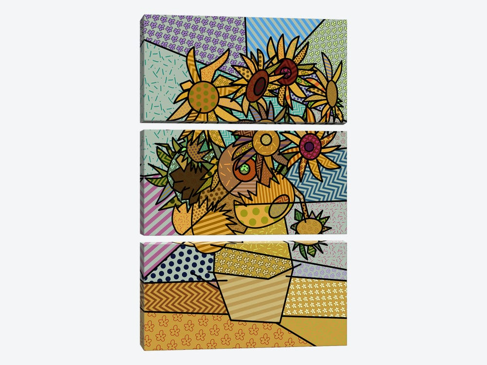 Sunflowers 2 (After Vincent Van Gogh) by 5by5collective 3-piece Canvas Artwork