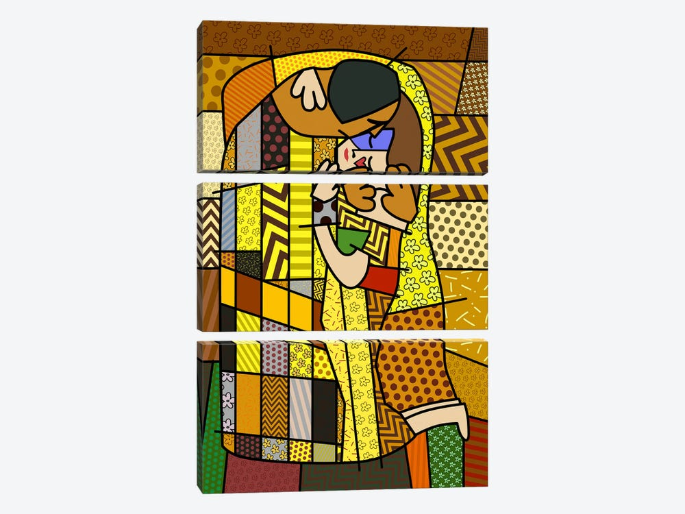 The Kiss 2 (After Gustav Klimt) 3-piece Canvas Artwork
