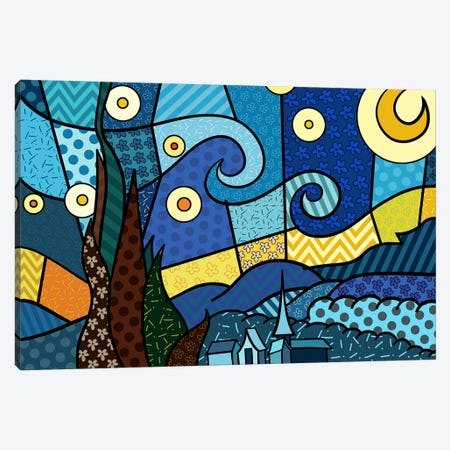 Starry Night 2 (After Vincent Van Gogh) Canvas Print #ICA451} by 5by5collective Art Print