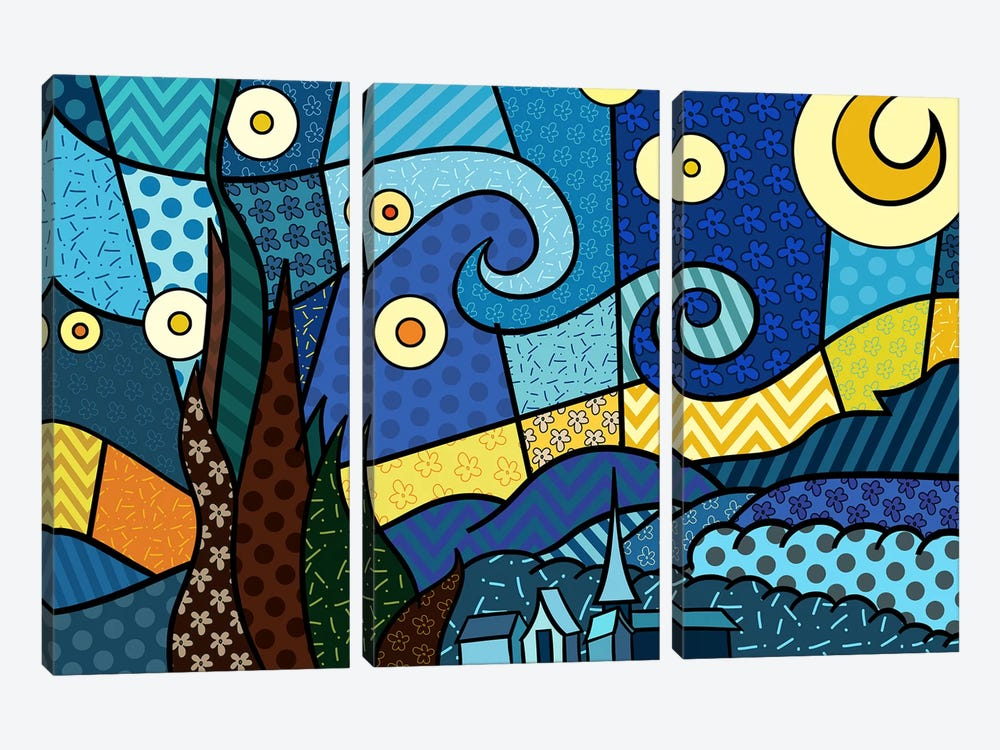 Starry Night 2 (After Vincent Van Gogh) by 5by5collective 3-piece Canvas Print