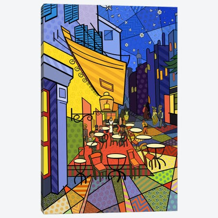 Cafe Terrace on the Place Du Forum 3 (After Vincent Van Gogh) Canvas Print #ICA455} by 5by5collective Canvas Wall Art