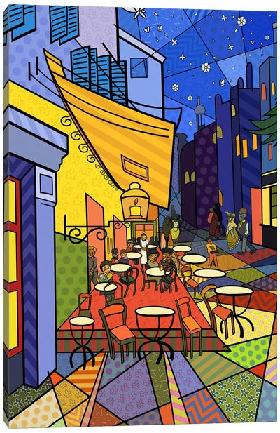 Cafe Terrace on the Place Du Forum 3 (After Vincent Van Gogh) Canvas Art Print