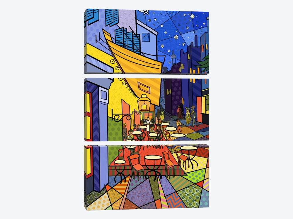 Cafe Terrace on the Place Du Forum 3 (After Vincent Van Gogh) by 5by5collective 3-piece Canvas Art Print