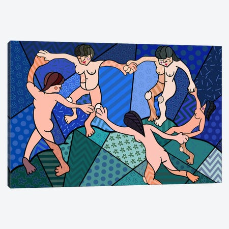 The Dance 2 (After Henri Matisse) Canvas Print #ICA457} by 5by5collective Canvas Wall Art