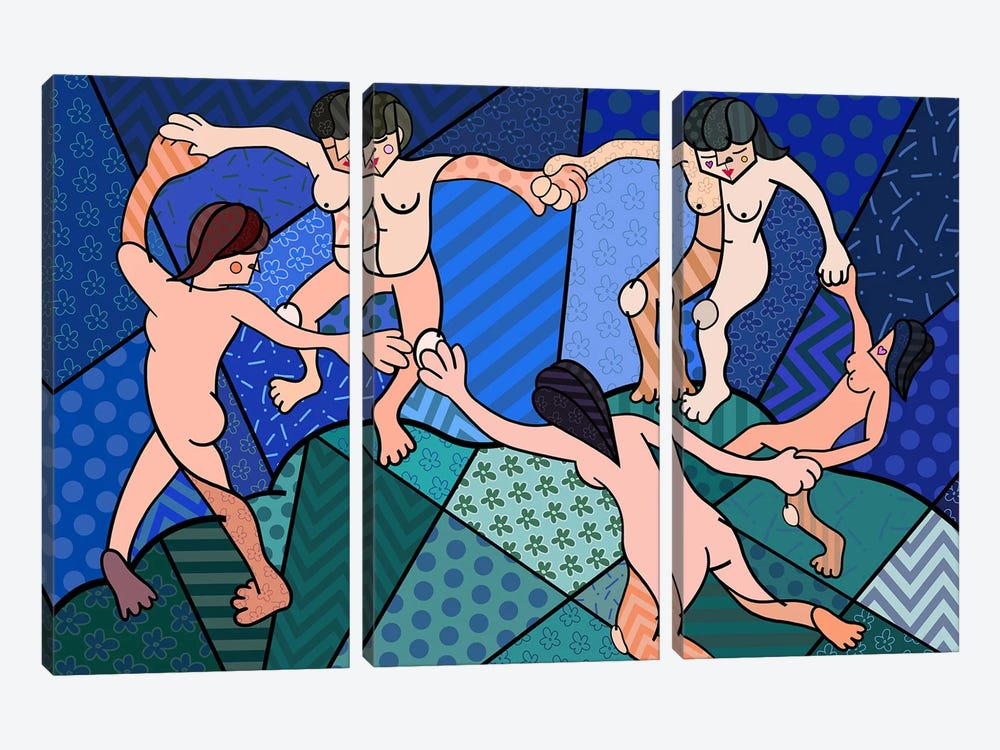 The Dance 2 (After Henri Matisse) by 5by5collective 3-piece Canvas Print
