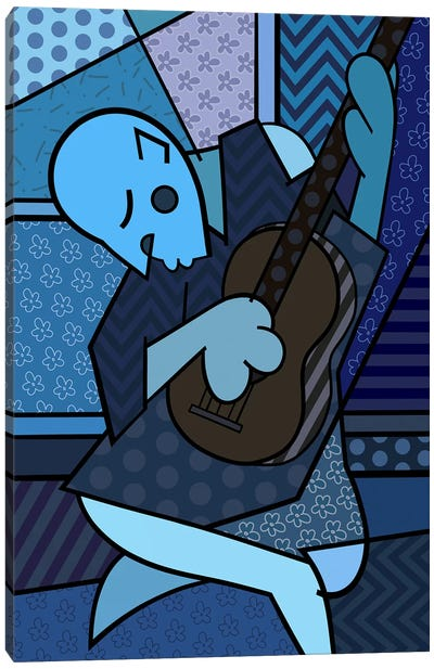 The Old Guitarist 2 (After Pablo Picasso) Canvas Print #ICA458