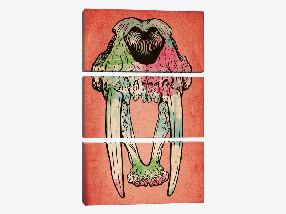 Prehistoric Watercolor 3-piece Canvas Art Print