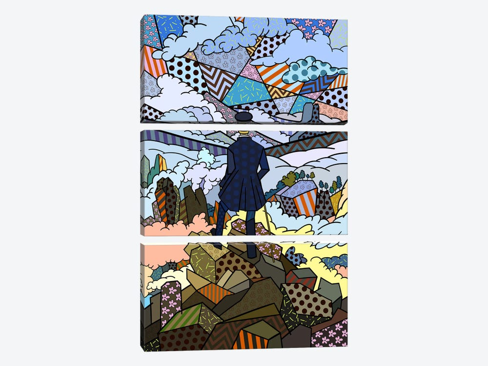 Wanderer Above the Sea and Fog 3 (After Caspar David Friedrich) by 5by5collective 3-piece Canvas Art Print