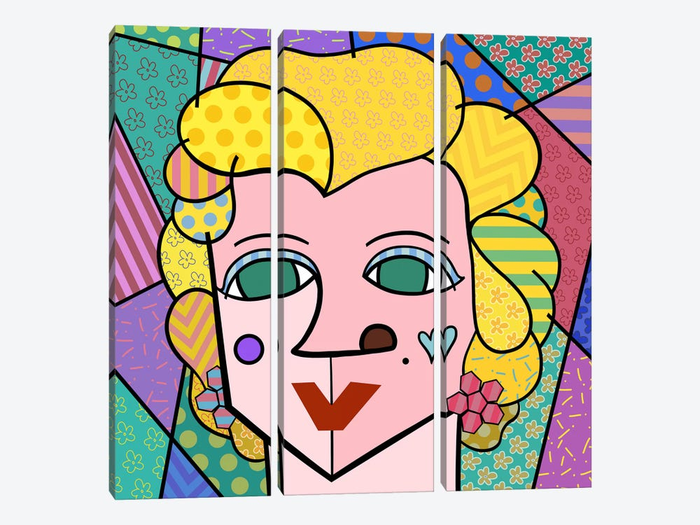 Marilyn 2 (After Andy Warhol) by 5by5collective 3-piece Canvas Artwork