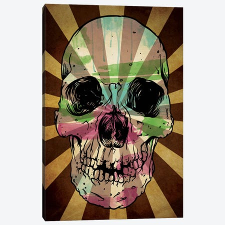 Rising Sun Watercolor Skull Canvas Print #ICA46} by Unknown Artist Canvas Art