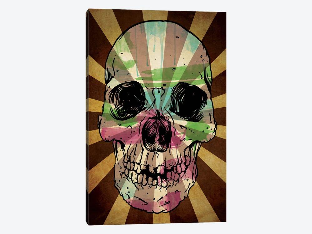 Rising Sun Watercolor Skull by Unknown Artist 1-piece Canvas Artwork