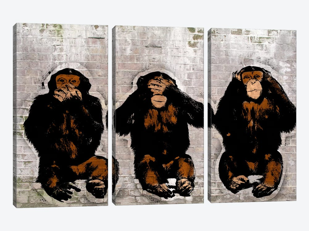 Monkey See, Monkey Do by 5by5collective 3-piece Canvas Art Print