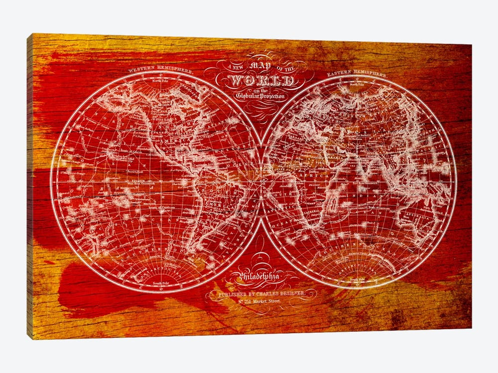 Woodgrain Hemispheres by Unknown Artist 1-piece Canvas Print