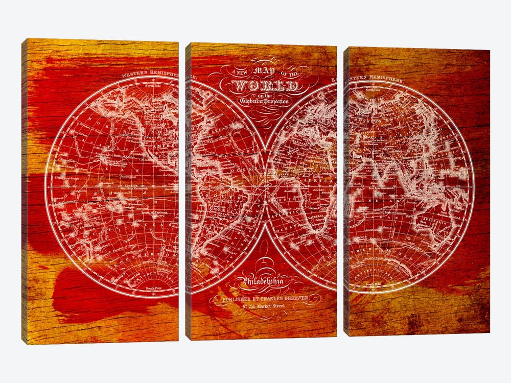 Woodgrain Hemispheres by Unknown Artist 3-piece Canvas Print