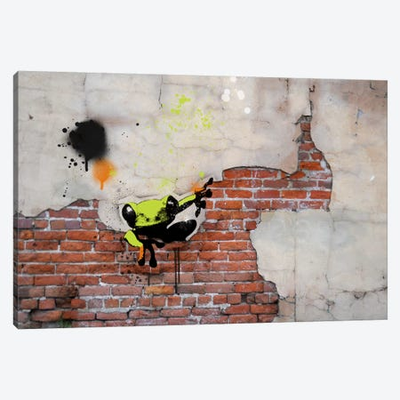 Peeping Frog 3-Piece Canvas #ICA482} by 5by5collective Canvas Artwork