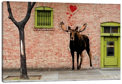 I Love Moose Canvas Art Print