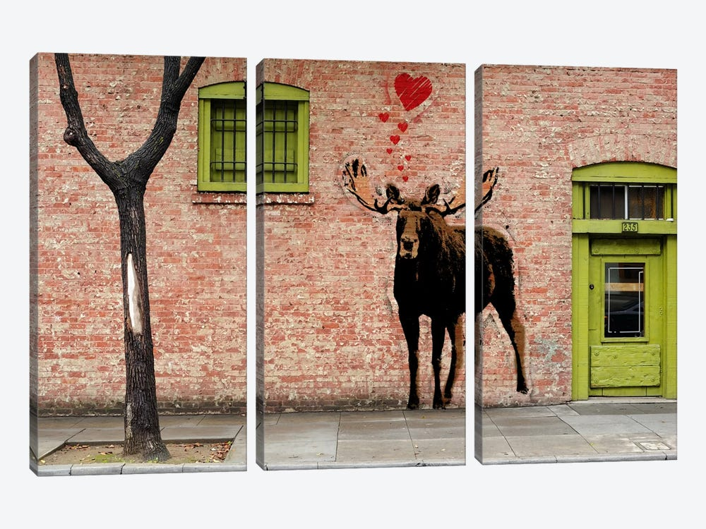I Love Moose by 5by5collective 3-piece Canvas Print