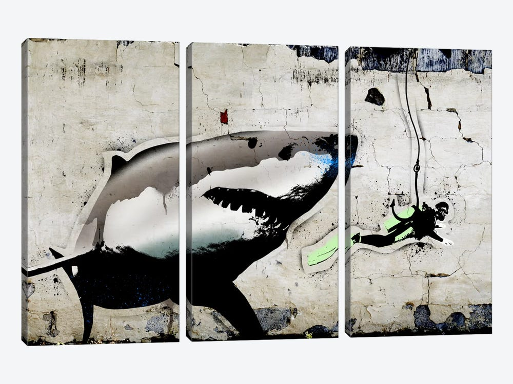 Shark Bait by 5by5collective 3-piece Canvas Wall Art