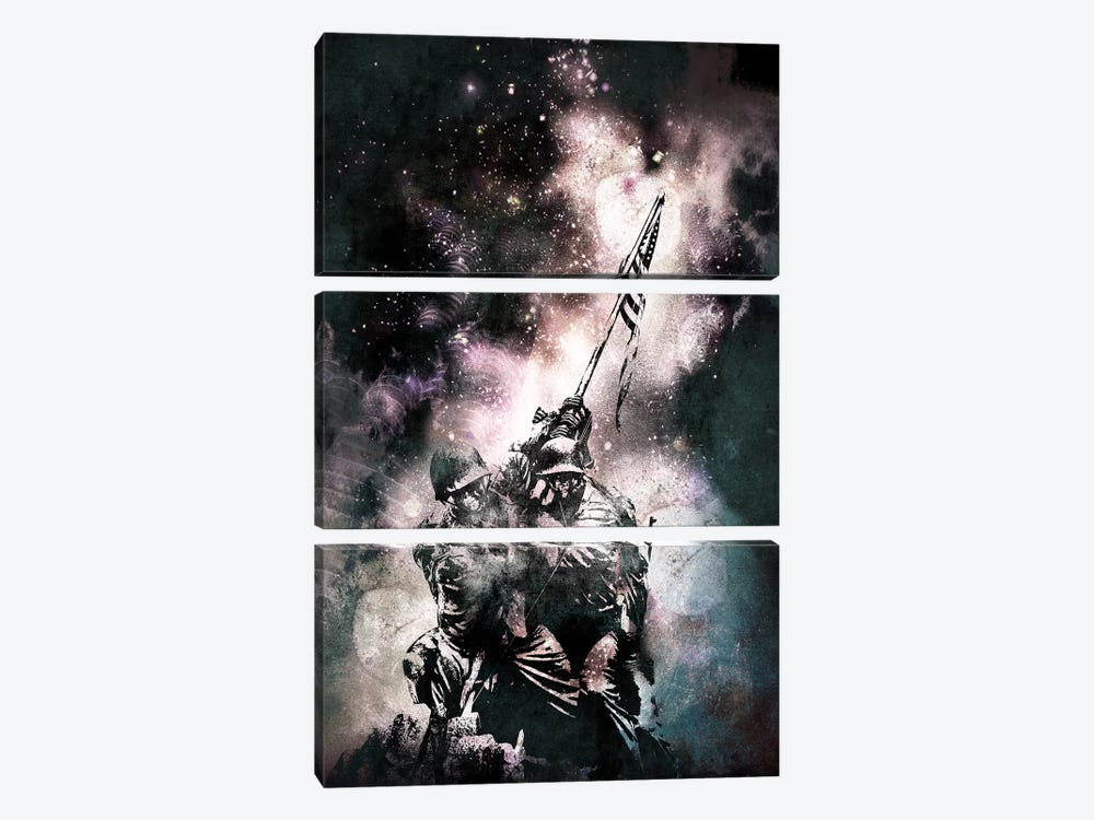 Raising the Flag by 5by5collective 3-piece Canvas Wall Art