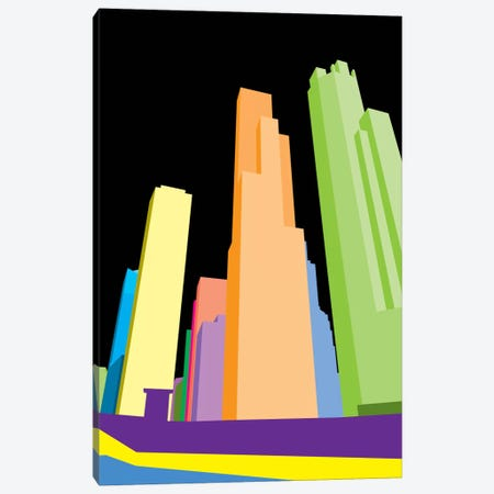 Neon Blocks Chicago Canvas Print #ICA53} by iCanvas Canvas Artwork