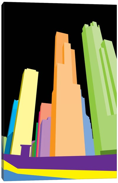 Neon Blocks Chicago Canvas Art Print